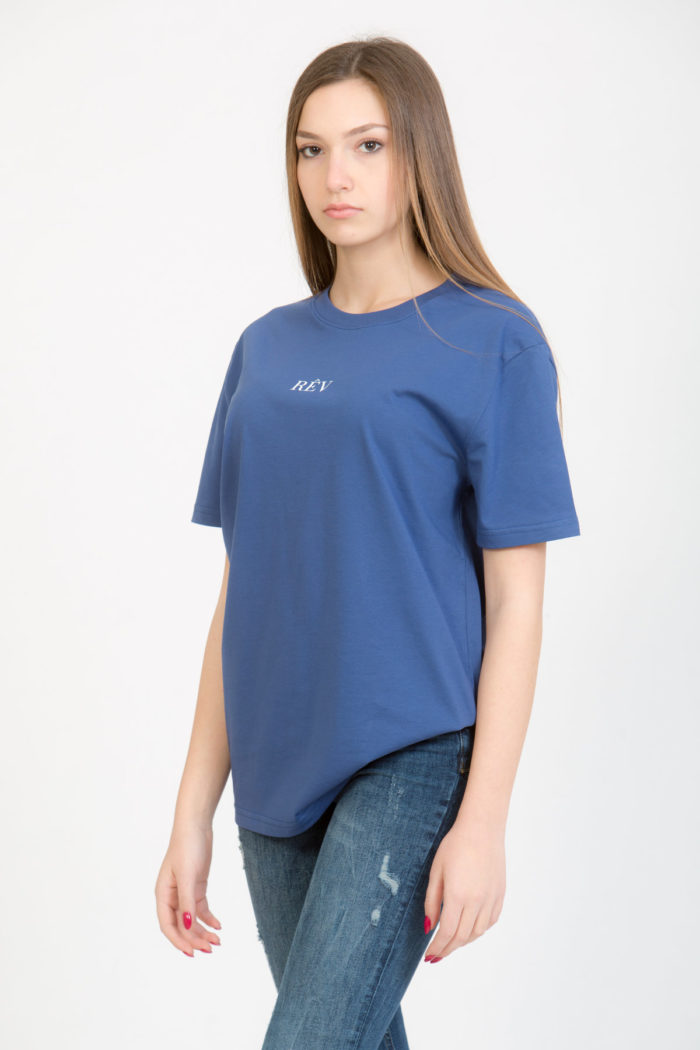 LERÊVERIES - T-shirt Oversize Donna RÊV Manifesto Colore Blu - B