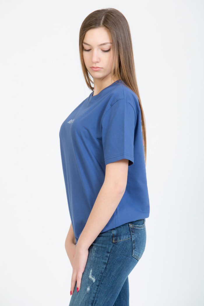 LERÊVERIES - T-shirt Oversize Donna RÊV Manifesto Colore Blu - C