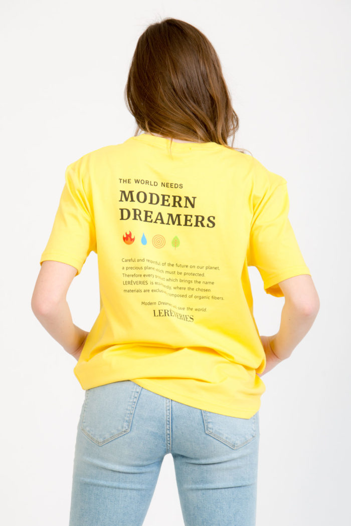 LERÊVERIES - T-shirt Oversize Donna RÊV Manifesto Colore Giallo - A